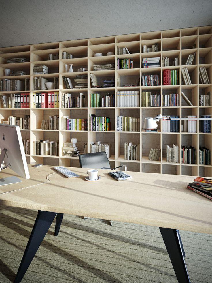 シンプルな巨大本棚とシンプルな大きなテーブルのあるワークスペース