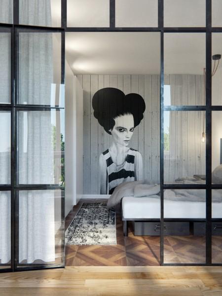 格子ガラスで仕切られたベッドルーム1