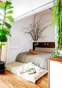 40畳のワンルーム住宅のベッドエリア
