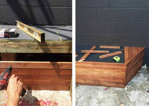DIYで作った造作ベンチと暖炉のある中庭のDIY6 ウッドステインの上にペンキを塗り、更に周囲に板を張る2