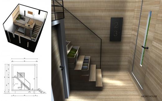 """箱型のコンパクトハウス""""Micro House""""の2階に上がる階段 下は収納スペースに"""