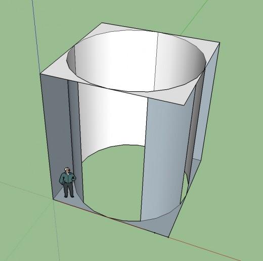 縦横各5.2m×高さ6mの立方体と、そこに接する円柱をSketchUpで 斜め上から