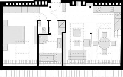 勾配天井下のロフトハウスの図面