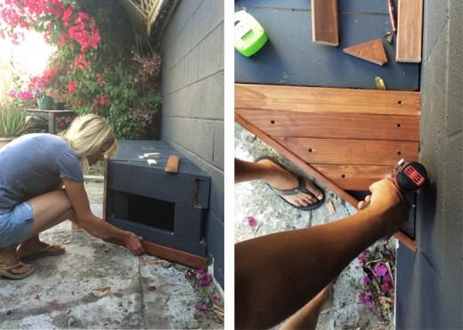 DIYで作った造作ベンチと暖炉のある中庭のDIY5 ウッドステインの上にペンキを塗り、更に周囲に板を張る