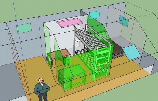 勾配天井の下のロフト的ベッドルーム クイーンサイズのベッドあり 12.5畳と4.5畳に区切ってみる 2段ベッドとデスク2個その2 エアコンあり