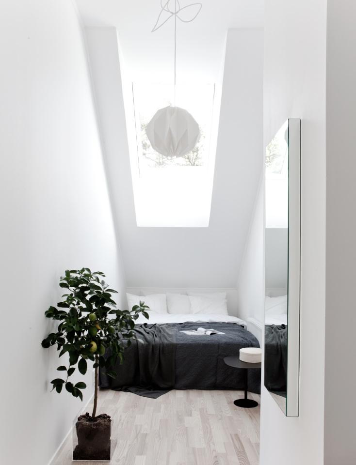 勾配天井と天窓の下のコンパクトなベッドルーム