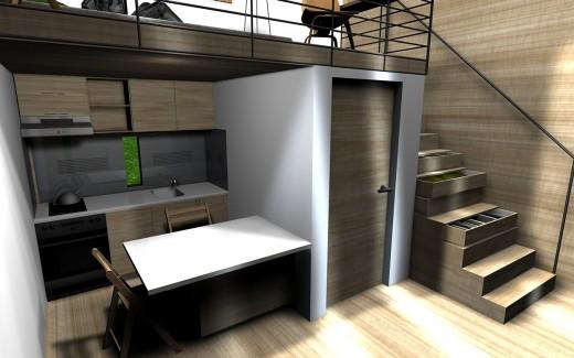 """箱型のコンパクトハウス""""Micro House""""の1階のダイニング・キッチン"""