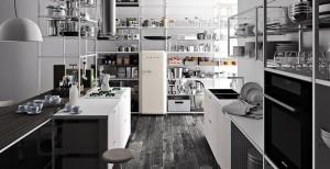 シンプルなフレームシェルフシステムのあるキッチン3