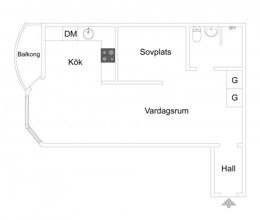 壁で仕切られたベッドルームのあるスウェーデン エステルマルムの1LDKの部屋の間取り図