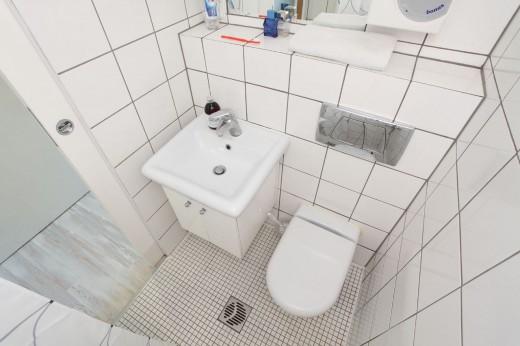 8畳弱の狭小ワンルームのロフトベッドルームとその下のクローゼットの向こうのバスルーム・トイレ
