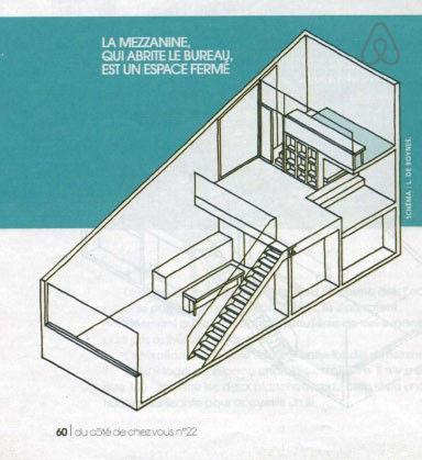 リビング・ダイニング・キッチンと吹き抜けでつながるロフトスペースのある家の立体図