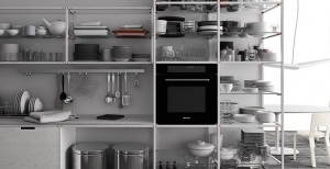 シンプルなフレームシェルフシステムのあるキッチン2