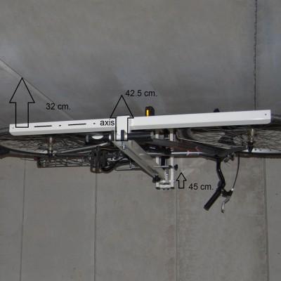 自転車駐輪用ラックflat-bike-liftのサイズ 収納時天井高45cm