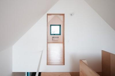 内部に構造躯体以外のものがほとんど無いスケルトンハウスの中の唯一の2階フロア