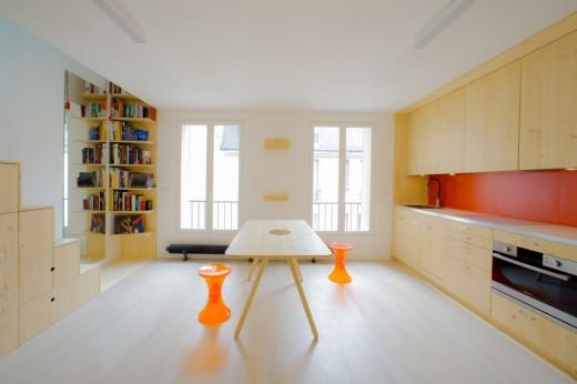 リノベーションでロフトを追加したワンルームマンションのダイニング・キッチン1