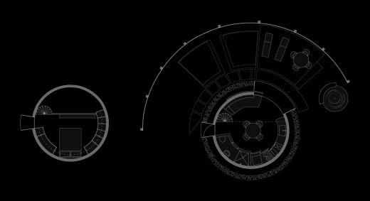穀物サイロを流用して作った円筒形のコンパクトハウス 図面
