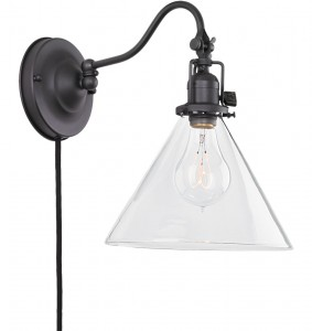 ウォール照明perker pin-up三角コーンクリアガラスシェード