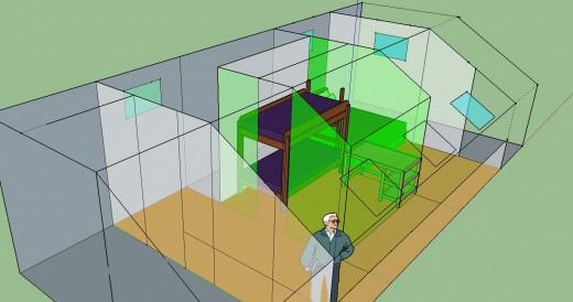 勾配天井の下のロフト的ベッドルーム クイーンサイズのベッドあり 12.5畳と4.5畳に区切ってみる 2段ベッドとデスク1個 斜めから