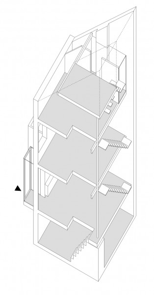 最上階の勾配天井の下に天窓付きのロフトベッドエリアのある家の立体図