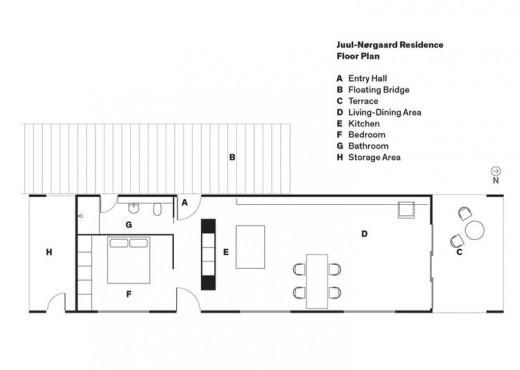 77平米の細長い1フロア住宅の平面図