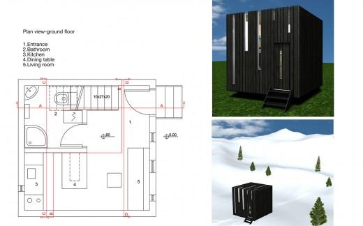 """箱型のコンパクトハウス""""Micro House""""のフロアプラン1階"""