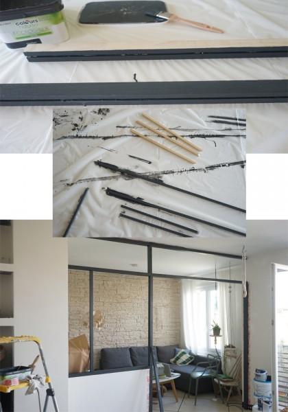 リビングとダイニングの間のガラスのパーティション壁をDIYで作る1