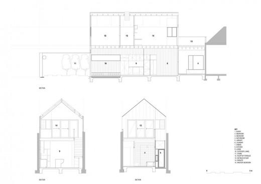 2つの屋外リビングスペースのある、幅5m程度のコンパクトハウスの立面図