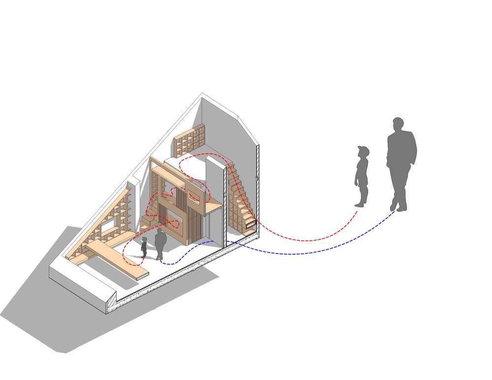 天窓と造作カウンターテーブルのある斜め天井の下のロフトの子供部屋の図面2