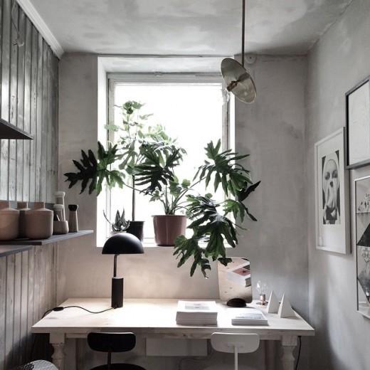 大きめの窓のある幅わずか2m程度のスペースに横長の机を入れたコンパクトな2人用ワークスペース