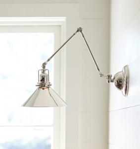 ウォール照明Reedポリッシュドニッケル製ワイド三角コーンシェード