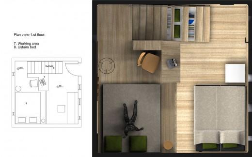 """箱型のコンパクトハウス""""Micro House""""のフロアプラン2階"""