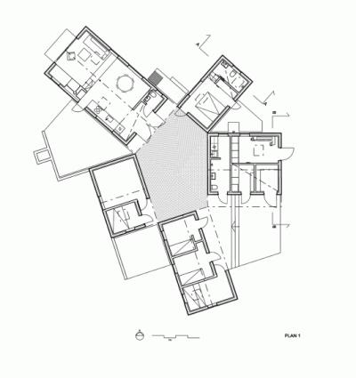 平屋を5軒星形に配置したデンマークの夏の家