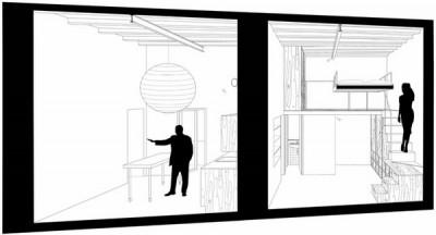 狭小ワンルームリノベーション住宅の断面図2